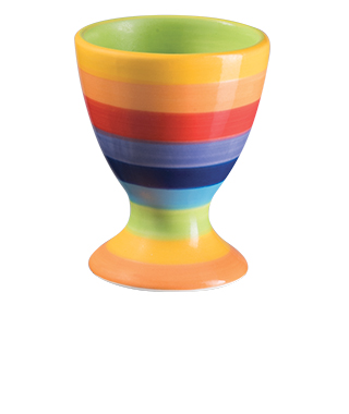 Duhový keramický pohárek na vajíčko STRIPPY z Thajska, Namaste