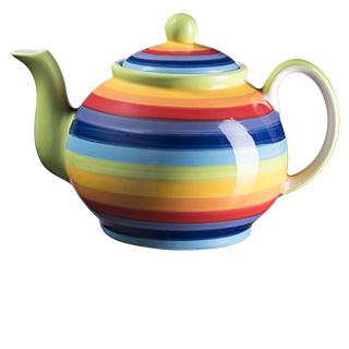 Duhová keramická čajová konvička STRIPPY z Thajska, Namaste