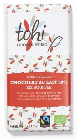 Bio Mléčná čokoláda TOHI s rýžovými křupinkami 38%, 70g