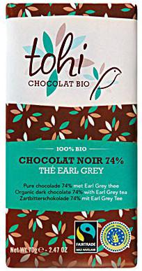 Bio Hořká čokoláda TOHI s čajem Earl Grey 74%, 70g