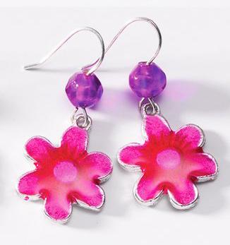 Květinkové náušnice GIRLY, Namaste Růžová