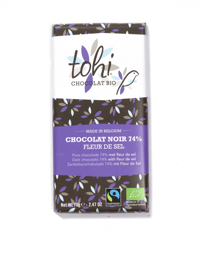Bio Hořká čokoláda TOHI 'Fleur de Sel' 74%, 70g