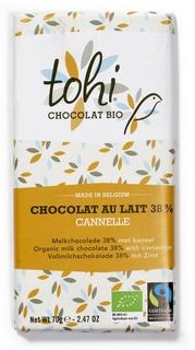 Bio Mléčná čokoláda TOHI se skořicí 38%, 70g