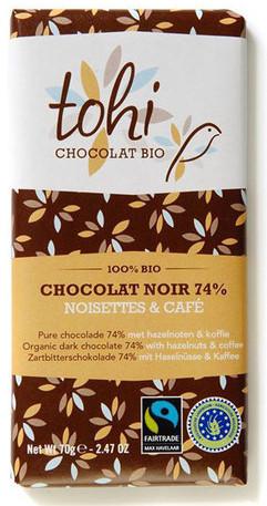 Bio Hořká čokoláda TOHI s kávou a lískovými oříšky74%, 70g