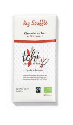 Bio Mléčná čokoláda TOHI s rýžovými křupinkami, 30g