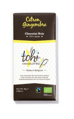 Bio Hořká čokoláda TOHI s citrónem a zázvorem, 30g