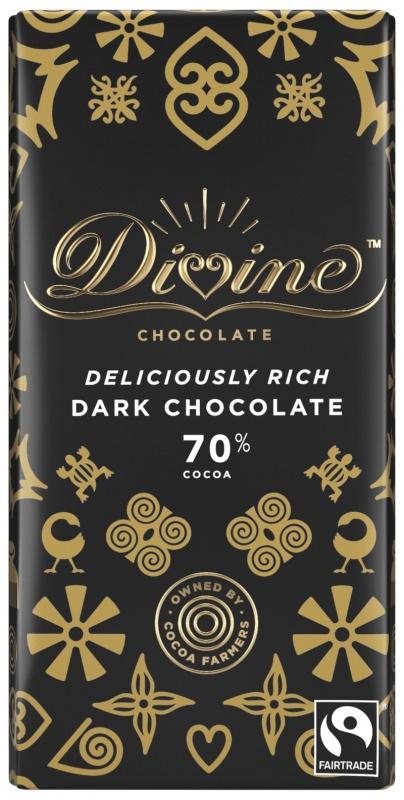 Divine hořká čokoláda, 70 % kakaa, 90 g