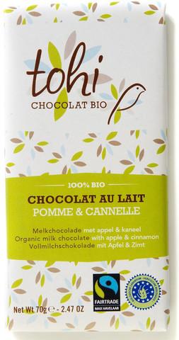Bio Mléčná čokoláda TOHI se skořicí a jablky 38%, 70g