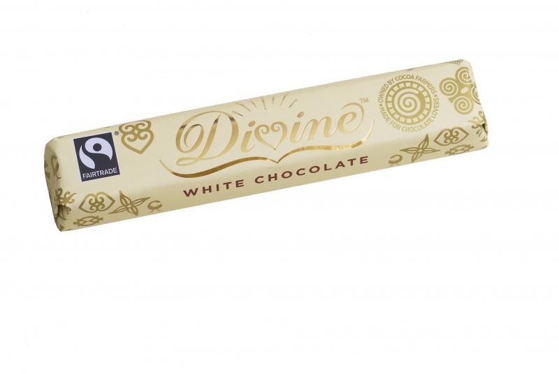 Divine bílá mléčná čokoládová tyčinka, 25 % kakaa, 35g