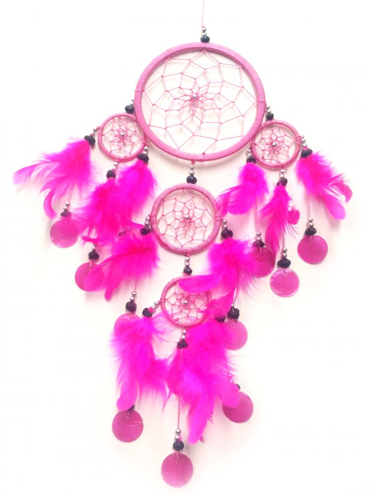 Velký lapač snů s filipínskými mušlemi, Namaste Růžová