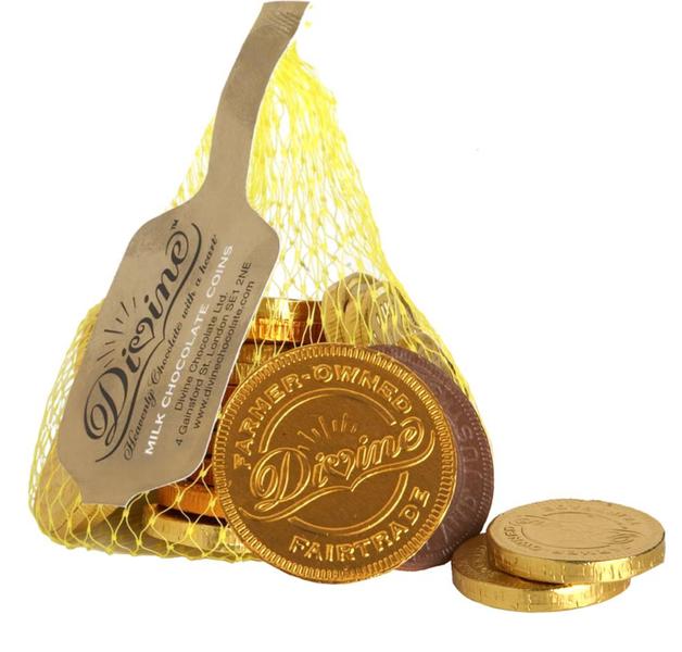 Divine penízky v mléčné čokoládě, 26 % kakaa, 65g