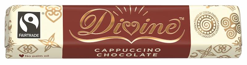 Divine mléčná a bílá mléčná čokoládová tyčinka CAPPUCINO, 35g