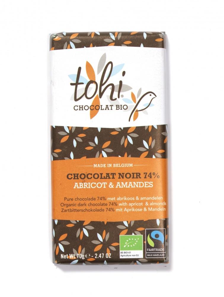 Bio Hořká čokoláda TOHI s meruňkami a mandlemi 74%, 70g