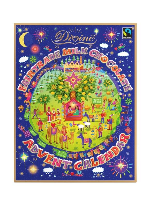 Divine adventní kalendář s čokoládovými srdíčky, 85 g