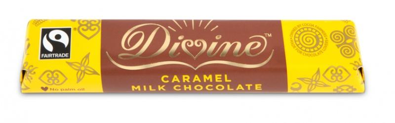 Divine mléčná čokoládová tyčinka s karamelovou náplní, 26 % kakaa, 35g