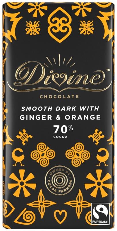 Divine hořká čokoláda se zázvorem a pomerančem, 70 % kakaa, 90 g