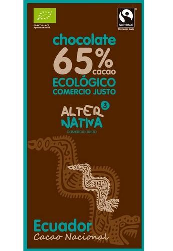 Bio hořká čokoláda ECUADOR 65% kakaa, Alternativa3, 80g
