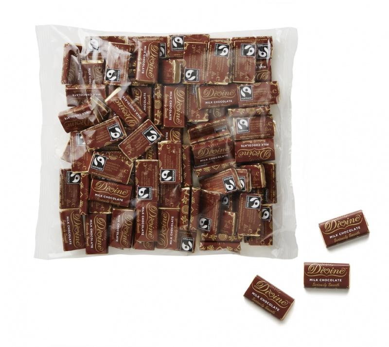 Divine mléčné miničokoládky, 27 % kakaa, 100 ks (420g)