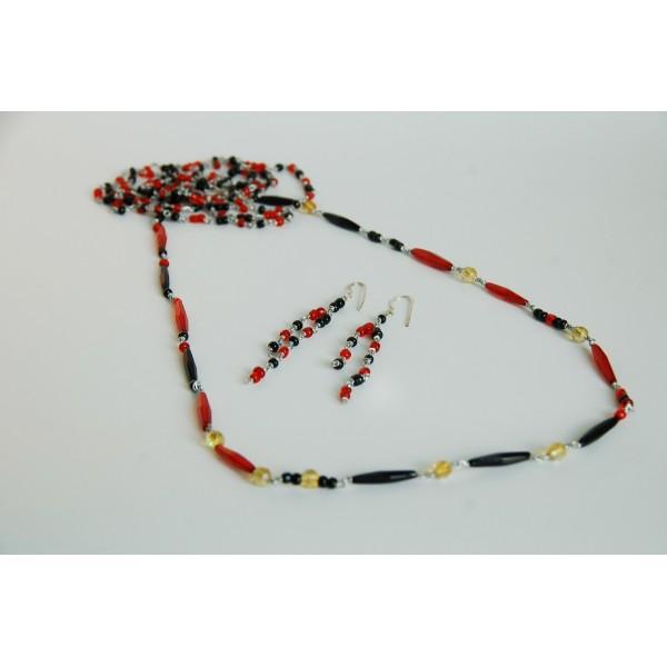 Set náhrdelník + náušnice Mesh, černo-červený