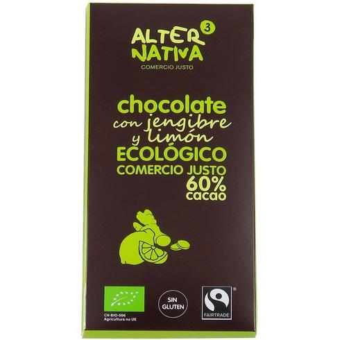 Bio hořká čokoláda CITRÓN ZÁZVOR 60% kakaa, Alternativa3, 80g