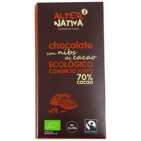 Bio hořká čokoláda s kousky kakových bobů 70% kakaa, Alternativa3, 80g