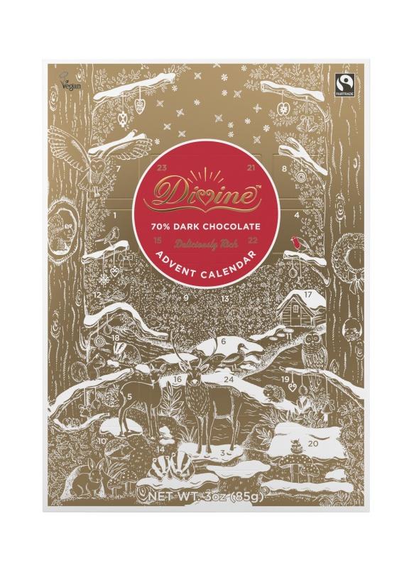 Divine adventní kalendář s čokoládovými zvířátky, 85 g