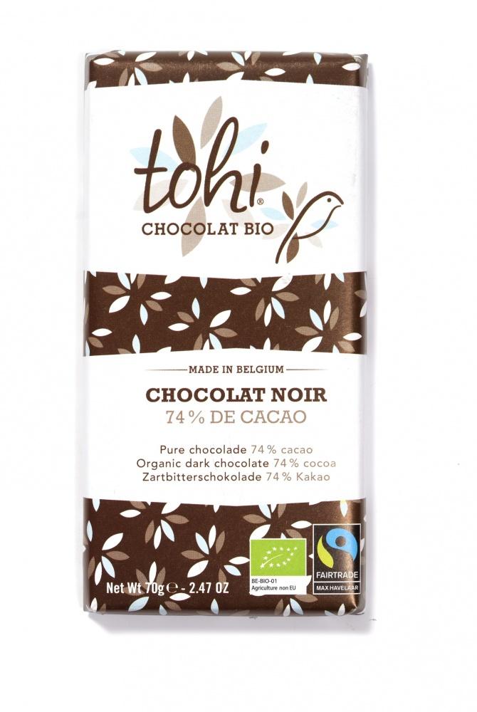 Bio Hořká čokoláda TOHI 74%, 70g