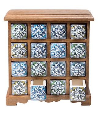 Minikomoda s 16 keramickými šuplíčky, mangové dřevo