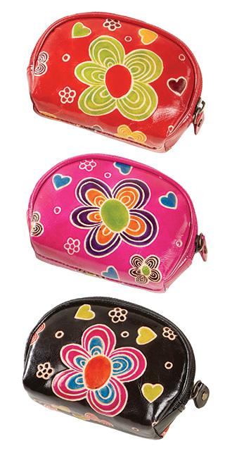 Kožená peněženka na drobné s květinou, Namaste Černá