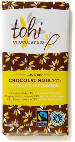 Bio Hořká čokoláda TOHI citrónem a zázvorem 74%, 70g