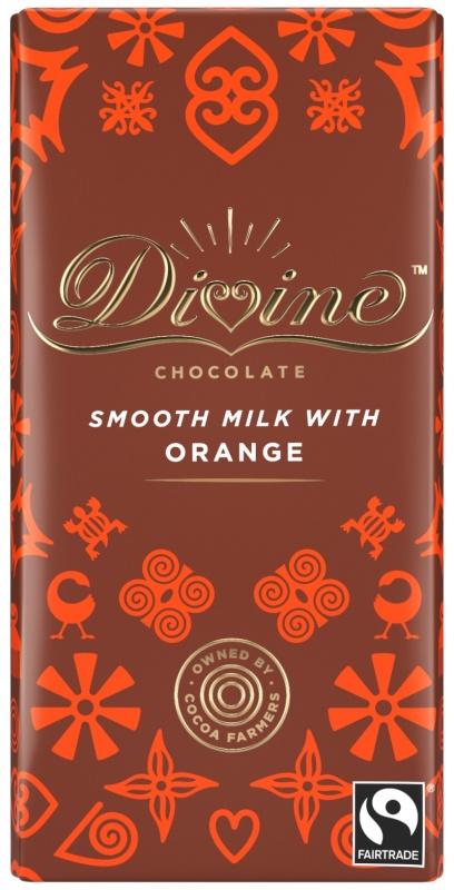 Divine mléčná čokoláda s příchutí pomeranče, 26 % kakaa, 90 g