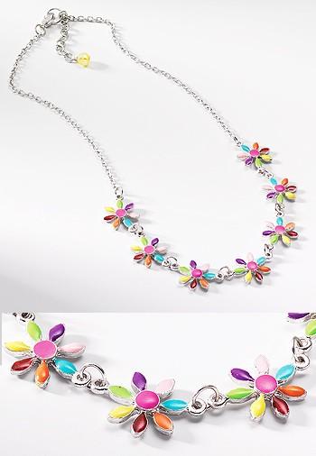 MIRAMAR květinkový náhrdelník, SLEVA - vypadlý kamínek