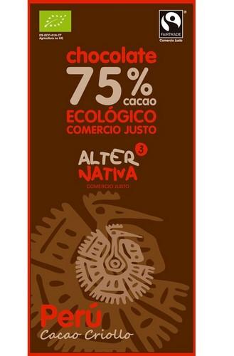 Bio hořká čokoláda PERU 75% kakaa, Alternativa3, 80g