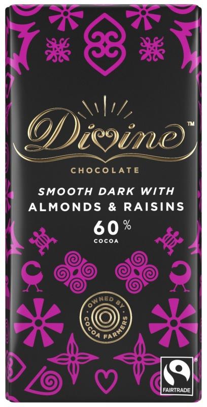 Divine hořká čokoláda s mandlemi a rozinkami, 60 % kakaa, 90 g