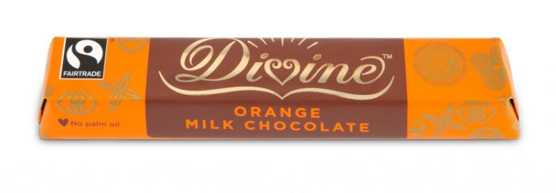 Divine mléčná čokoládová tyčinka s příchutí pomeranče, 26 % kakaa, 35g