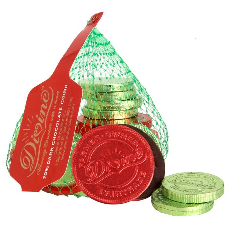 Divine penízky v hořké čokoládě, 65g, 70 % kakaa