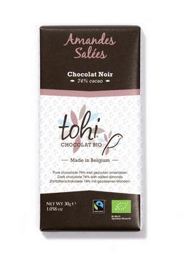 Bio Hořká čokoláda TOHI s mandlemi, 30g