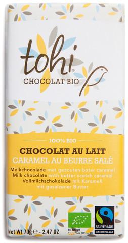 Bio Mléčná čokoláda TOHI s karamelem a solí 38%, 70g